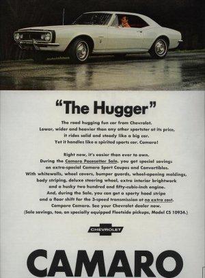 1967 Chevrolet White Chevy Camaro The Hugger AD