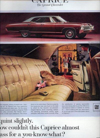 Vintage 1967 RED Chevrolet Chevy Caprice Custom Sedan Car AD