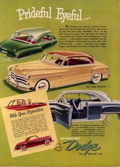 Vintage 1950 New Dodge Diplomat Car Print AD