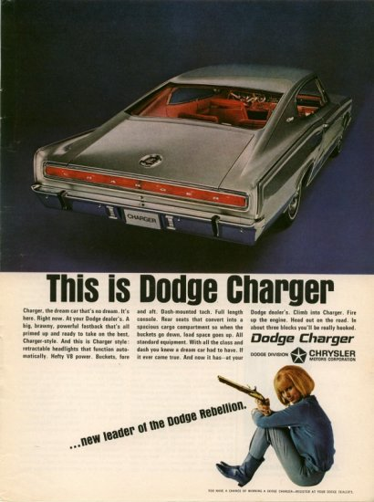Vintage 1966 Dodge Charger Silver Car AD