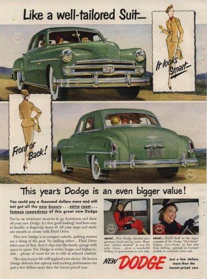 Vintage Advertising 1950 New Green Dodge Car AD