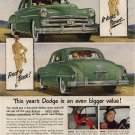 Vintage Advertising 1950 New Green Dodge Car AD