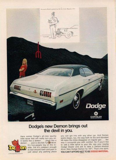 Vintage 1970 White Green Top Dodge Demon Car AD