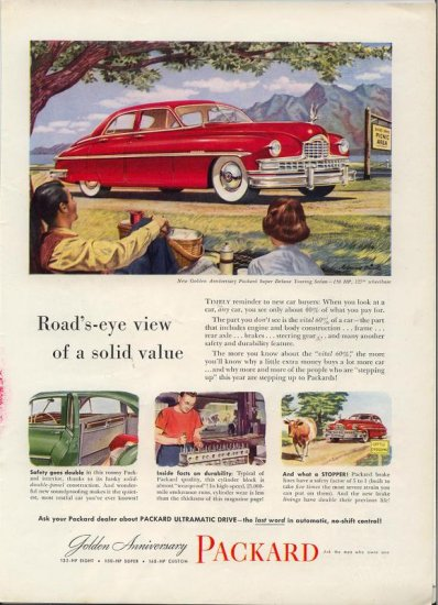Vintage 1949 Golden Packard Super Deluxe Sedan Red Car AD
