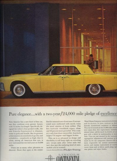 Vintage 1961 Yellow Lincoln continental Car Print AD