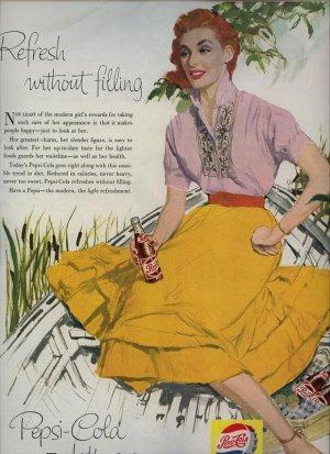 Vintage 1956 Red Hair Girl Pepsi Cola Bottle AD