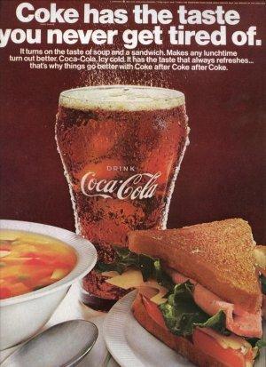 Vintage 1967 Coca Cola Bottle Glass Print Coke AD