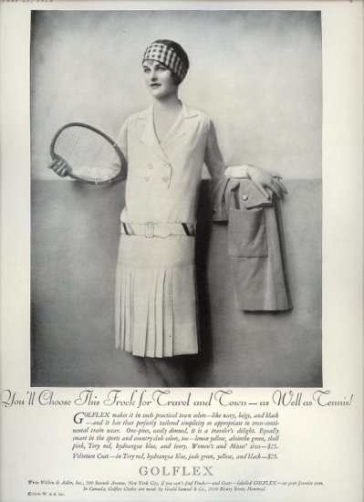Vintage 1928 Golflex Frock Travel Town & Tennis Real Photo AD