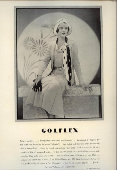 Vintage 1931 Golflex Crepe Lusette Real Photo Fashion AD