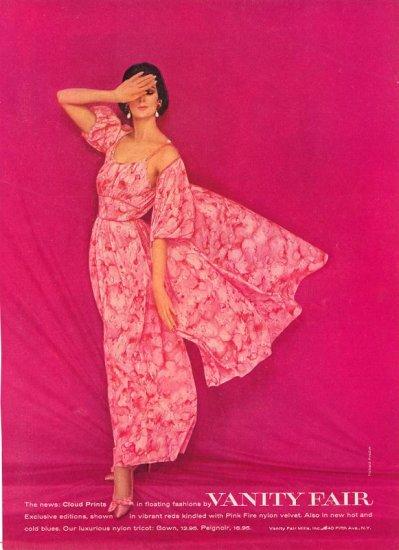 Vintage 1960 Pink Vanity Fair Lingerie Nightgown Print AD