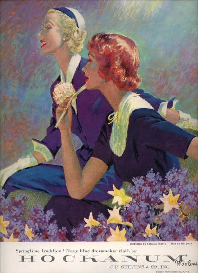 Vintage 1952 Hockanum Woolens Women Suit Art Print AD