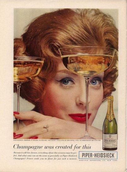 Vintage 1960 Woman Piper Heidsieck Champagne Print AD