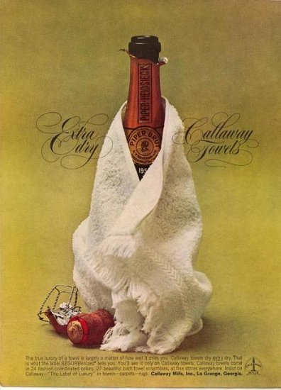 Vintage 1961 Piper Heidsieck Champagne Calloway Towels Print AD