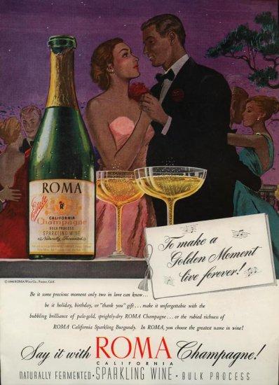 vintage 1946 Roma Estate Champagne Vintage Print AD