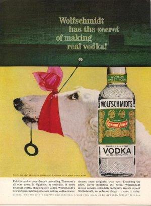 Vintage Advertising 1960 Wolfschmidt Vodka Borzoi Wolfhound Red Scraf AD