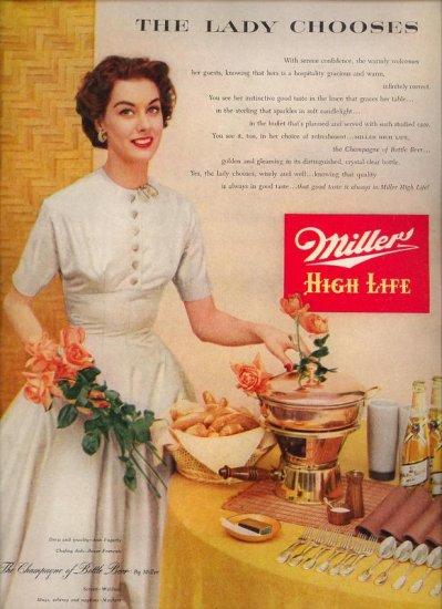 Vintage 1953 Pretty Woman Miller High Life Beer Print AD
