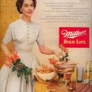 Vintage 1953 Pretty Woman Miller High Life Beer Print AD