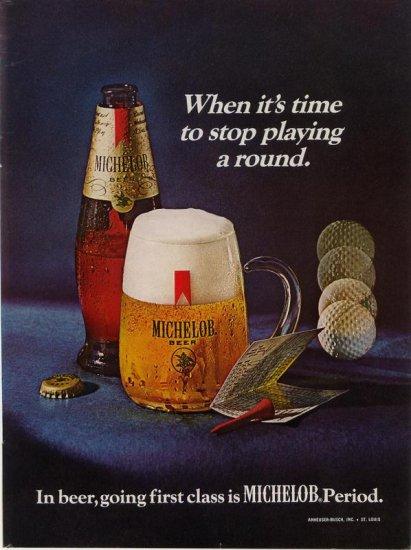 Vintage Advertising 1969 Golf Balls Tees Michelob Beer AD