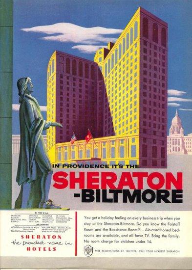 Vintage 1954 Sheraton Biltmore Hotel AD