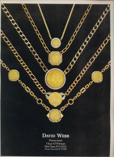 Vintage 1975 David Webb Jewelry Gold Chains Print AD