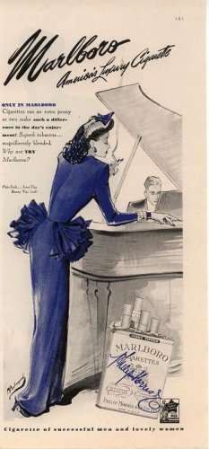 Vintage 1945 Marlboro Cigarette Lady in Purple Bolegard Art AD