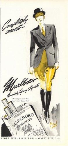 Vintage 1941 Riding Jockey Bolegard Art Marlboro Cigarette AD
