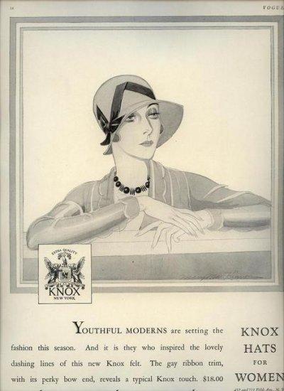 Vintage 1929 Knox Hats for Women Mary Mae Kinnon Art AD