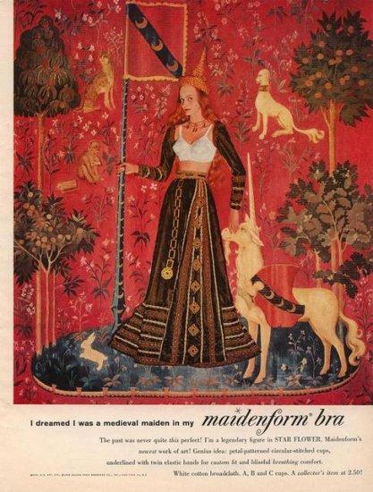 Vintage 1960 I dreamed Medieval Maiden Maidenform Bra AD