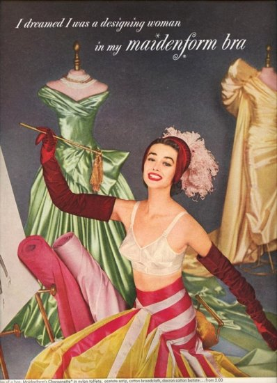 Vintage 1955 I dreamed designing Woman Maidenform Bra AD