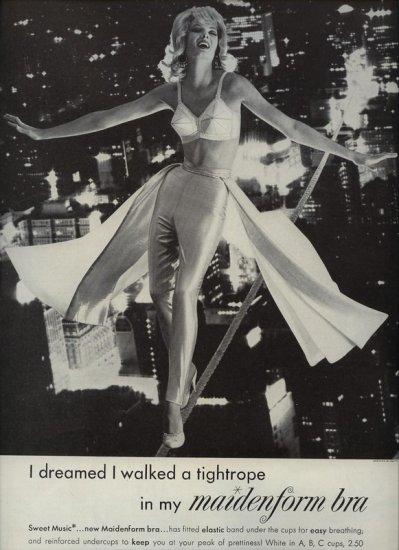 Vintage 1961 I dreamed I walked a tightrope Maidenform Bra AD