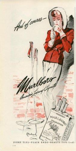 Vintage 1942 Marlboro Lady Skier Skies Cigarette AD