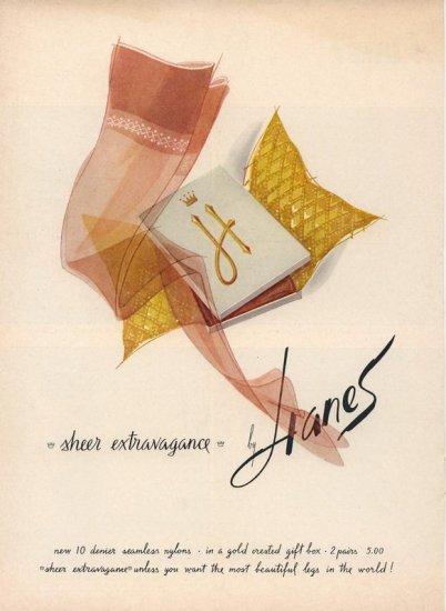 Vintage 1961 Hanes hoisery Hose Art AD