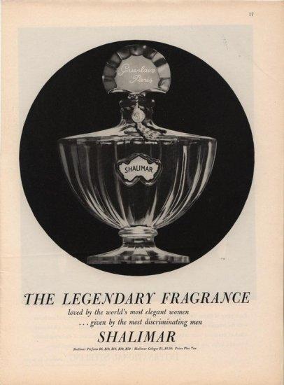 Vintage 1959 Shalimar Perfume Classic Bottle AD