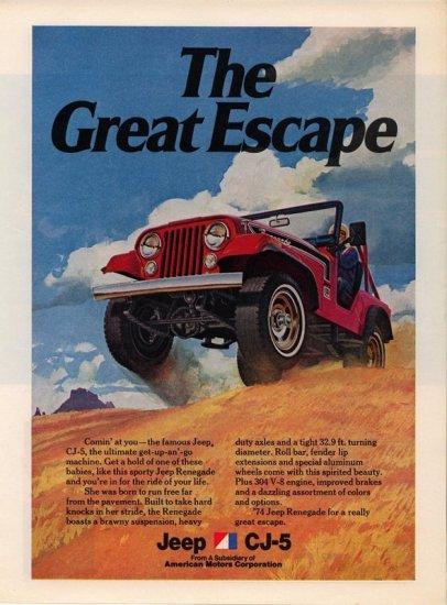 Vintage 1974 Jeep CJ-5 AMC Renegade Car AD