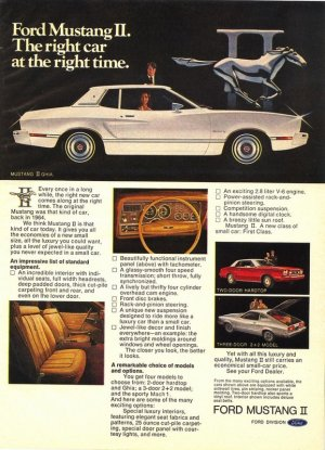 Vintage 1974 Ford Mustang II Sports Car AD