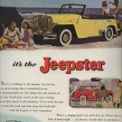 Vintage 1948 Jeepster Willys Yellow Convertible AD