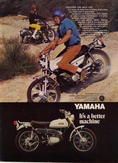 Vintage 1969 Yamaha 125 Single Enduro AT-1 motorcyle AD