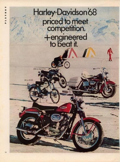 Vintage 1968 Harley Davidson motorcycle 8 different models 2 page AD