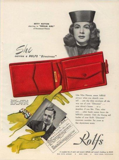 Vintage 1948 Betty Hutton Rolf's Red Directress Bilfold AD
