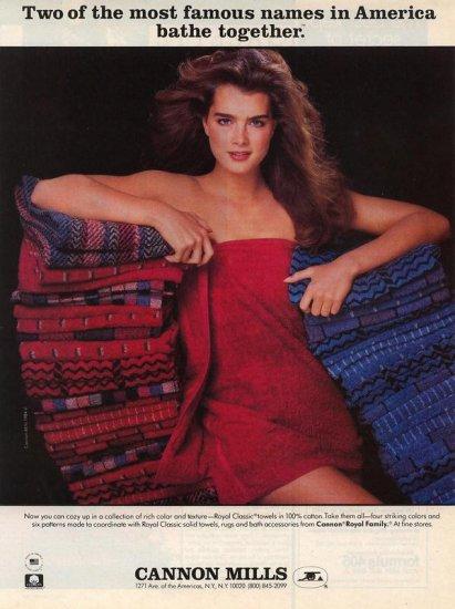 Vintage 1984 Brooke Shields Cannon Mills Towel AD