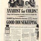 Vintage 1950 H E Hinman Family NY Anahist Antihistamine AD
