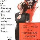 Vintage 1946 Tomorrow is Forever Orson Welles Movie Promo AD