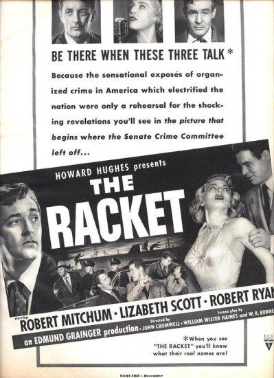 Vintage 1951 Howard Hughes The Racket Mitchum Movie Promo AD