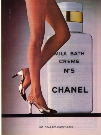 Vintage 1981 Chanel No 5 Milk Bath Creme Sexy Legs AD