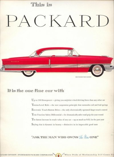 Vintage 1956 Red Packard 400 Car AD