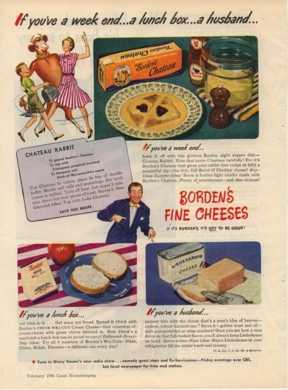 Vintage 1946 Borden's Chateau Cheese Rabbit Recipe AD