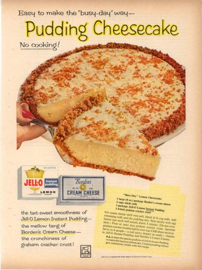 Vintage 1960 Jello Pudding Cheesecake Recipe AD