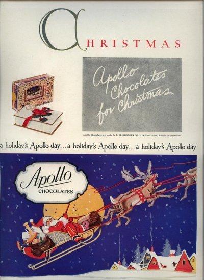 Vintage 1927 Apollo Chocolates Chirtmas Santa Claus AD