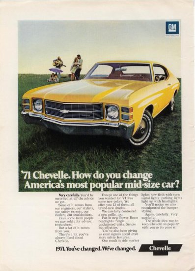 Vintage 1971 yellow Chevy Chevelle Chevrolet Car Ad