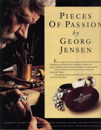 1992 Georg Jensen Pieces of Passion Jewelry 2 pg AD